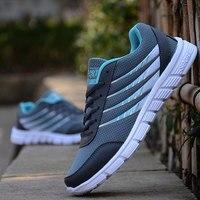 Men Shoes Lightweight Stripe Breathable Mesh Casual Shoes Adult Tenis Jogging Couples Shoes Men Plus Size