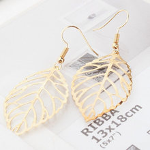 Double Big Leaves Drop Earrings Gold Silver Color Earrings Women Dangle Ear Hollow Leaf Feather Pendant Charm Statement Eardrop(China)