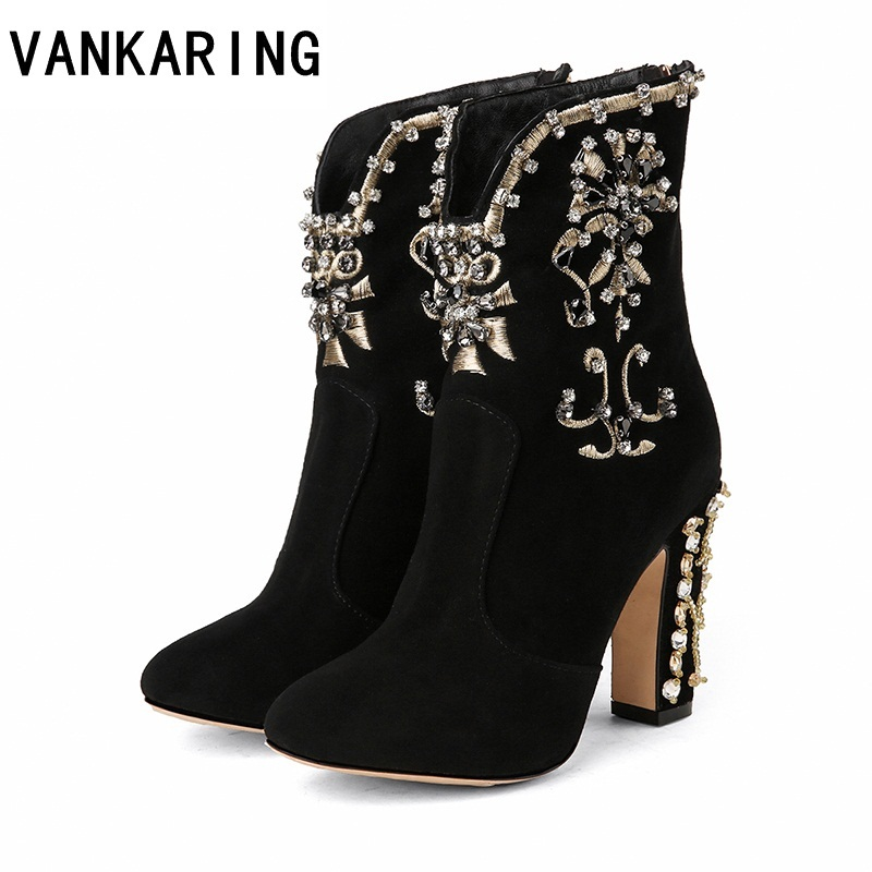 autumn winter leather ankle boots woman brand party dance shoes woman high heels black rhinestones beading
