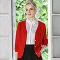 Navidad de la Rebeca Femenina V-cuello ocasional Diseñador de la Marca de Navidad Rojo Suéter Cardigans Mujeres Otoño