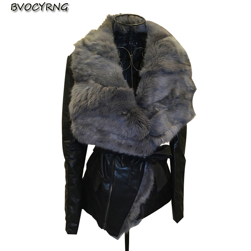 New Autumn Winter Woman Pu   Leather   Jacket Warm Large Rabbit fur lapels   Leather   Coats female short Thicken Cotton Jacket tops