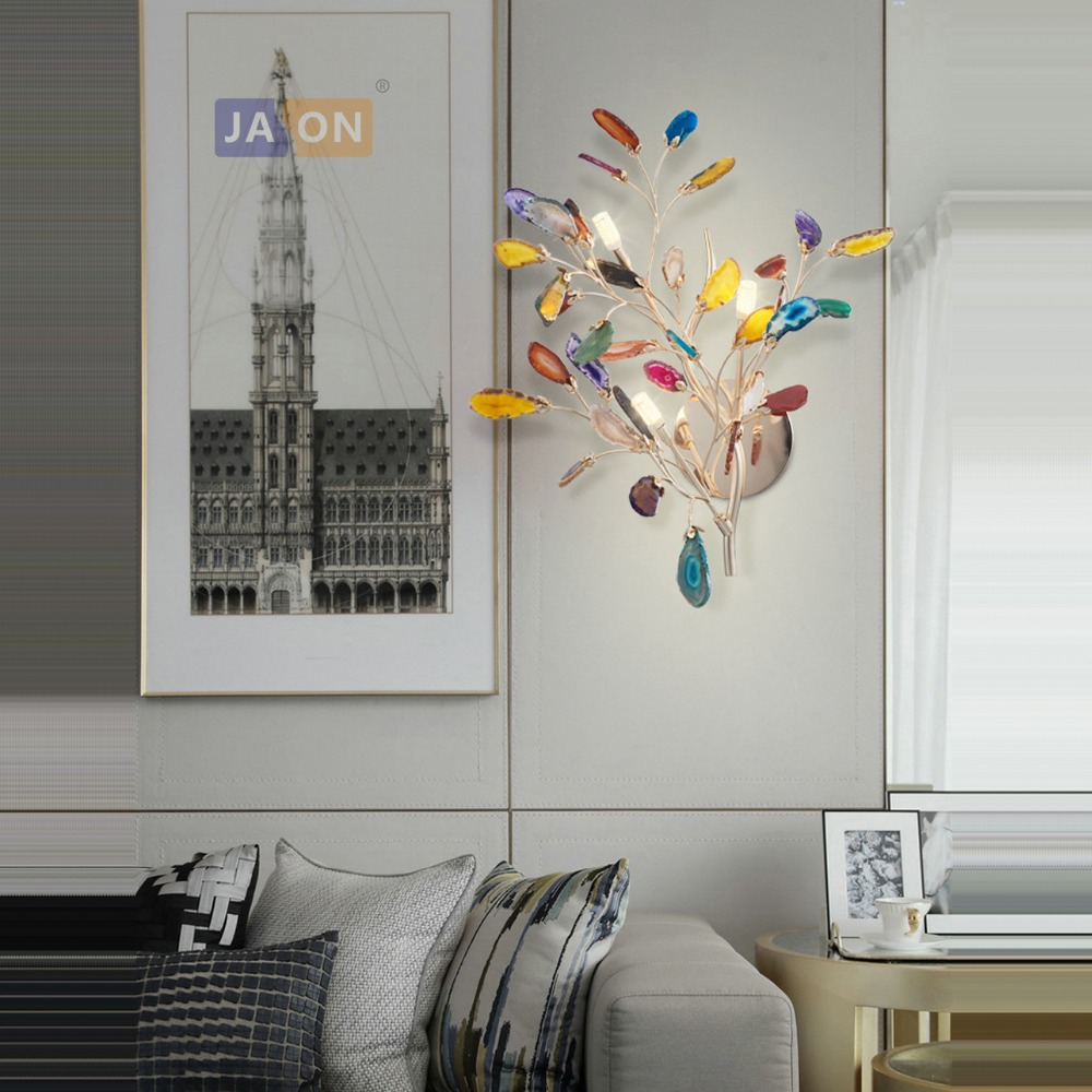 Led Lamps G4 Postmodern Iron Agate Tree Colorized Designer Led Lamp Led Light Wall Lamp Wall Light Wall Sconce For Foyer Bedroom Beneficial To The Sperm