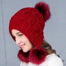 Fur Ball Cap Pom Poms Knitted Hats Women's Skullies Beanies For Girl Hat Knitted Beanies Winter Caps Hat female Cap Braid Cap цена 2017