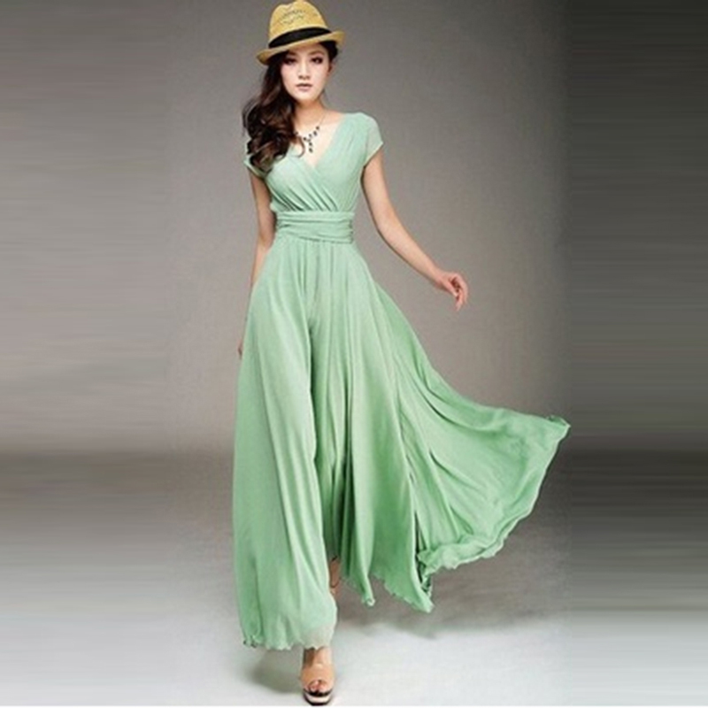 Women Long Bohemian Maxi Dress Short Sleeve Fit And Flare Party Ankle Length Dress Ladies Female V Neck Beach Dress Vestidos 3XL 3