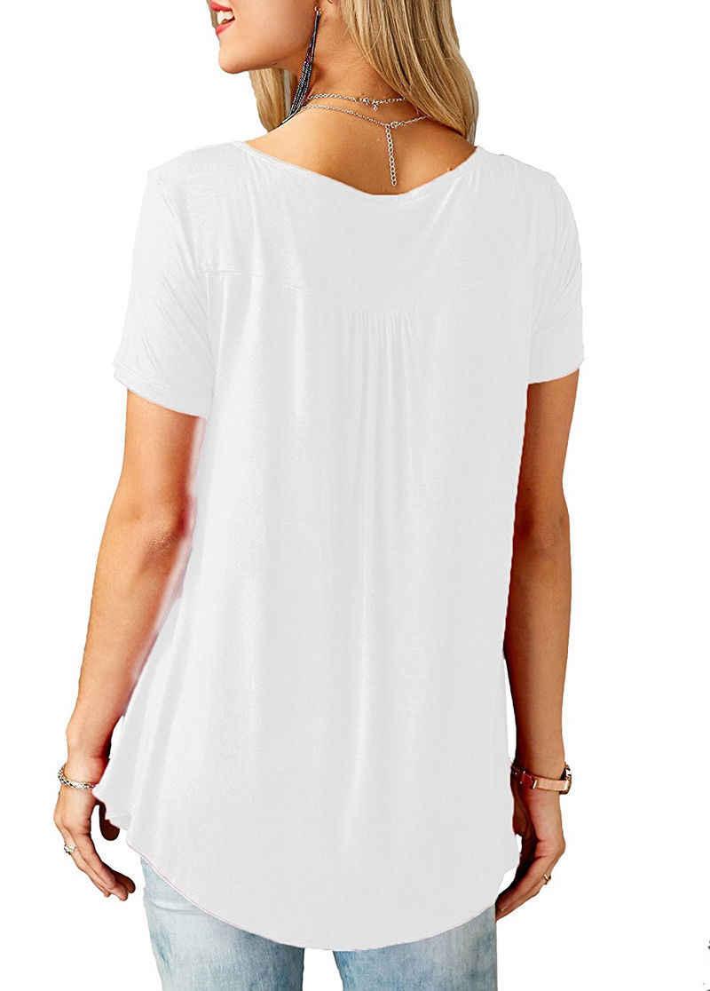 Damska na co dzień z krótkim rękawem luźne t-shirty przycisk jednolity kolor plisowana tunikowe bluzki, dekolt w serek, kobiece, pulowerowe topy ubrania letnie