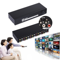 8 In 1 Out Splitter 8x1 Distributor 8 Ports Composite 3 RCA Video Audio Switcher AV Switch Box Selector for TV LCD Projector DVD