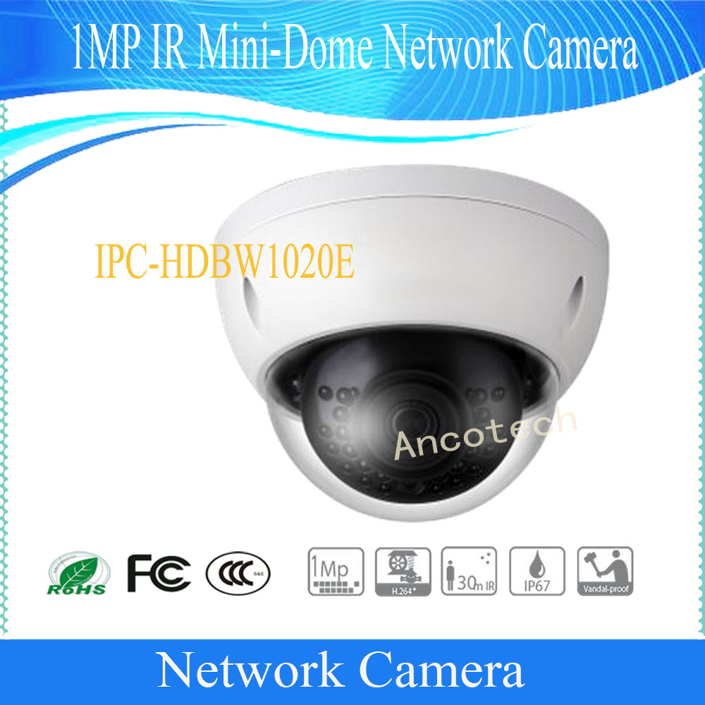 Free Shipping DAHUA IP Camera 1MP IR Mini-Dome Network Camera with Fixed Lens IP67 without Logo IPC-HDBW1020E dahua english vewrsion 4mp wdr network vandalproof bullet ip camera with fixed lens ip67 ipc hfw4421e 3 6mm lens
