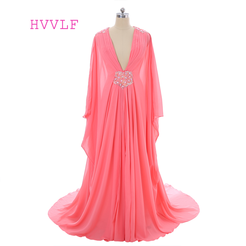 Coral 2019 Muslim Evening Dresses A-line Long Sleeves Chiffon Beaded Islamic Dubai Abaya Kaftan Saudi Arabia Long Evening Gown