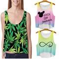 Multicolor Camisetas 3D Imprimir Mujeres Tank Tops y camis Chaleco Sin Mangas Impresa Niñas Verano Crop Top Corto Irregular
