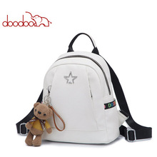 DOODOO Teenager School Women backpack Latest ladys with star embroidery Girls leather Travel