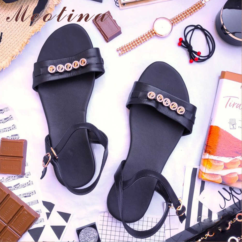 Meotina Summer Sandals Women Shoes Natural Genuine Leather Flat Sandals 2019 Rhinestone Buckle Casual Shoes Lady Big Size 3-12