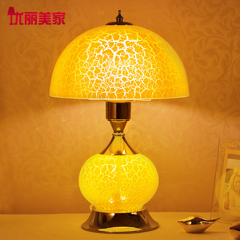 YOOK 25*37CM Metal Glass Table Lamp for Bedroom Bedside Study European Table Lamp Wedding Creative Warm Table Lamp 220V E27 crystal lamp bedroom bedside lamp decoration lamp european creative wedding marriage room warm rose wedding gift table lamp