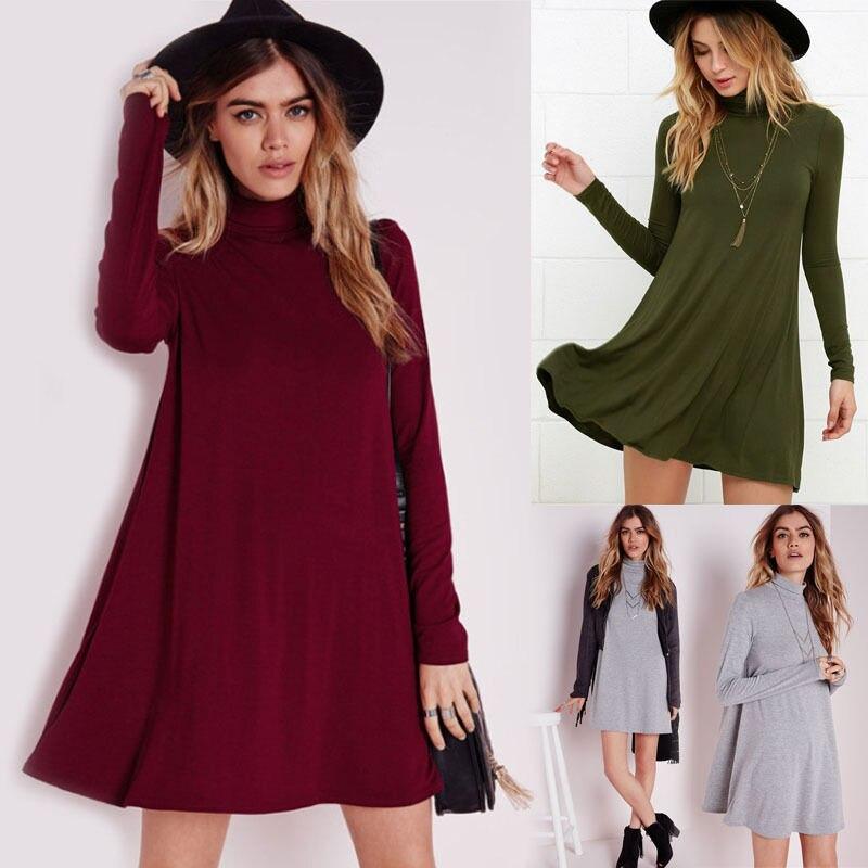 2016 Fashion Women Long Sleeve Solid Cotton Lace Casual Party Tunic Mini Shirt Dress