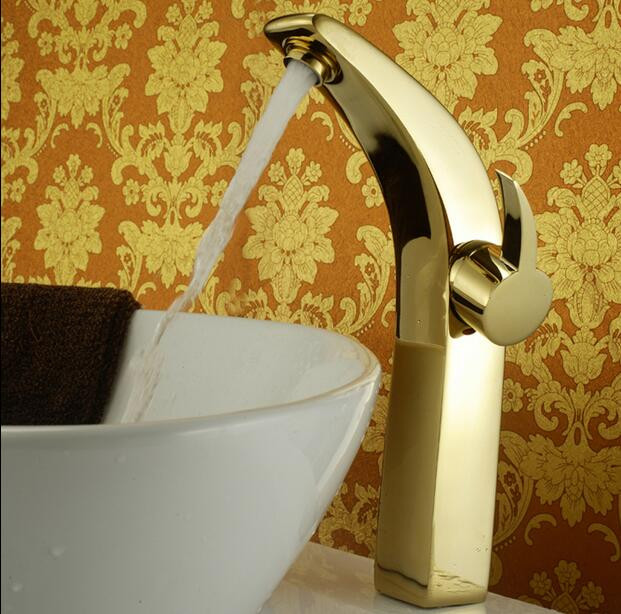 цена на European heightening full copper gold Finished faucet bathroom hot and cold basin tap water basin sinks the sink