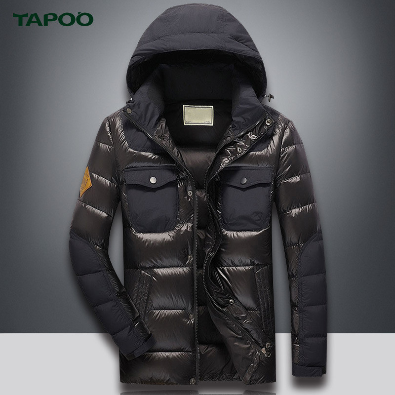 TAPOO Warm Mens Duck Down Jacket Waterproof Casual Outerwear Warm Winnter Coat Men Fashion Overcoat Outerwear With Larger Size