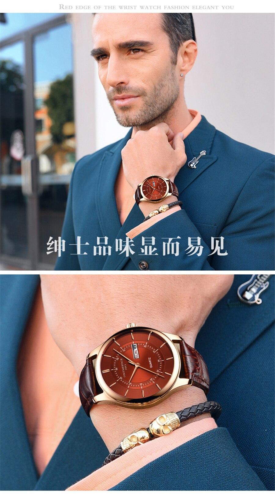 HTB1OCRgi25TBuNjSspcq6znGFXaz High Quality Rose Gold Dial Watch Men Leather Waterproof 30M Watches Business Fashion Japan Quartz Movement Auto Date Male Clock