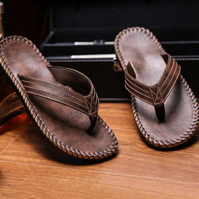 a6c64d6bc Hot Selling Summer Cool Men PU Leather Flip Flops British Style Boardered  Beach Sandals Male Slippers Zapatos Hombre