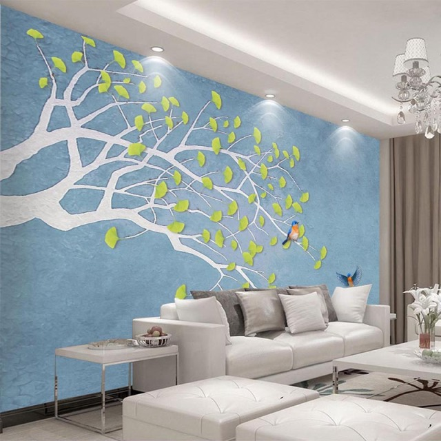 Chinese Style Green Leaves Birds Photo Wallpaper Modern Abstract Art 3D Wall  Murals Living Room Kids Part 55