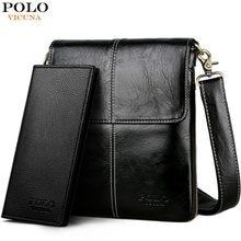 1095920fc0140 فيكونيا بولو الكلاسيكية الأسود لينة جلد رجل حقيبة ساعي قابلة تصميم الرجال  Crossbody حقيبة السفر طبقة