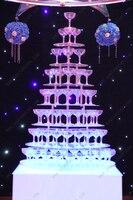 Семь ярусов в форме сердца Arcrylic шампанского башни, праздничная вечеринка, банкет шампанского башни, партия стол винная башня