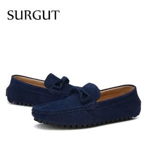 Image 5 - SURGUT Brand New four Season Men Fashion Shoes Slip On Flat Shoes Men Casual Shoes Comfortable Genuine Leather Men Loafers