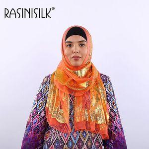 Image 4 - Seda jacquard cachecol xale mulher islâmica hijab muçulmano amoreira seda hijab étnica ultraleve foulard lenço acessórios femininos