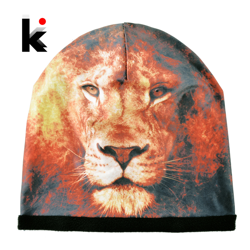 Top Fashion 3D Lion Printing Hats For Men Cool Hip Hop Caps Women Warm Winter Skullies Beanies Unisex Streetwear Bonnets Femme