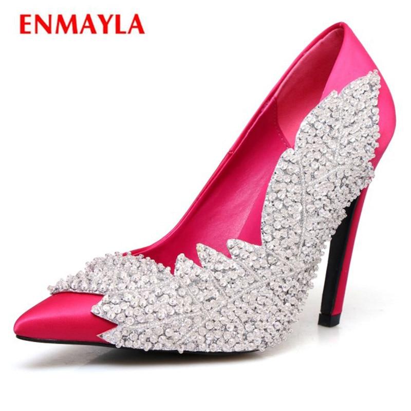Slip Talons Dames Enmayla Super vert Sexy Pompes Femme Hauts Grande Femmes Chaussures sur Bout Cristal Pour Partie rouge rose Rouge Noir Pointu Taille rtwqOPt