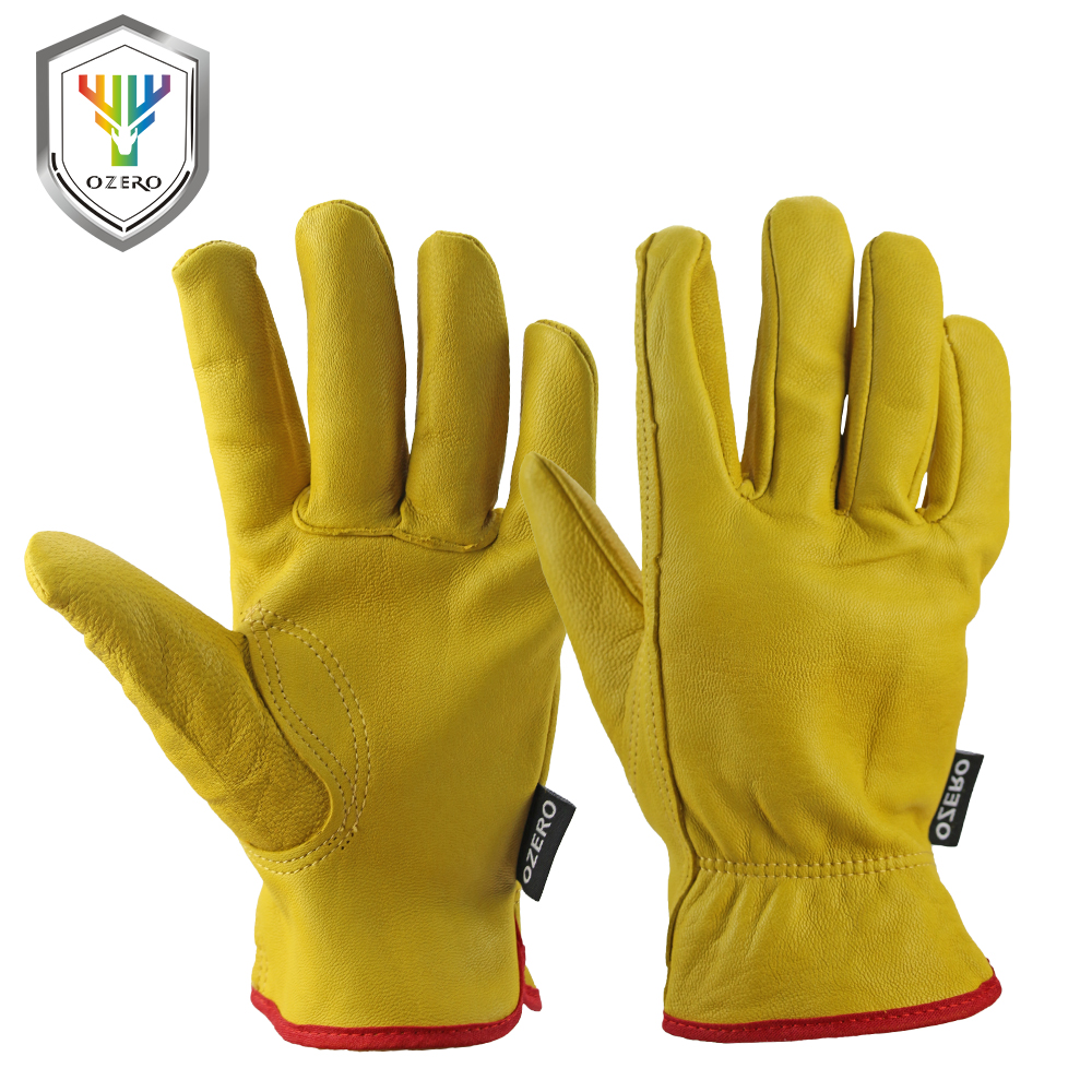 OZERO 1Pairs Mechanics Goat Work Gloves Anti Impact Safety Glove Garden Driver Gloves Leather Welding/Motorcycle/Repairman цена 2016