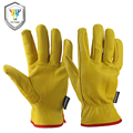 OZERO 1Pairs Mechanics Goat Work Gloves Anti Impact Safety Glove Garden Driver Gloves Leather Welding/Motorcycle/Repairman