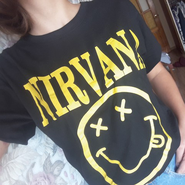 Nirvana T Shirt Men <font><b>Women</b></font> Summer Quality CottonTops Tees Nirvana Print T-shirt Men Loose O Neck Short Sleeve Fashion <font><b>Tshirts</b></font> image