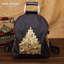MOLJEAGA Марка Нейлон и кожа рюкзак кожи и коровьей мужчины многофункциональный рюкзак Осень лоскутное мешок моды Заклепки Рюкзаки