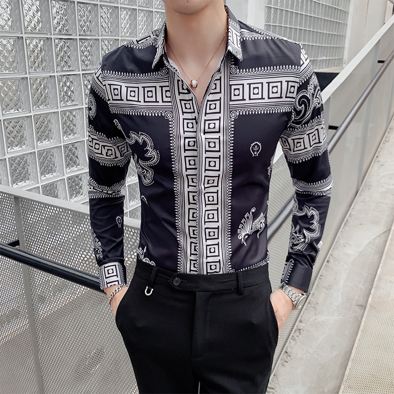 Retro Dragon Print Men Shirt Long Sleeve Shirts Fashion Casual Slim Fit Dress Shirts Night Club Party Social Streetwear Camisa