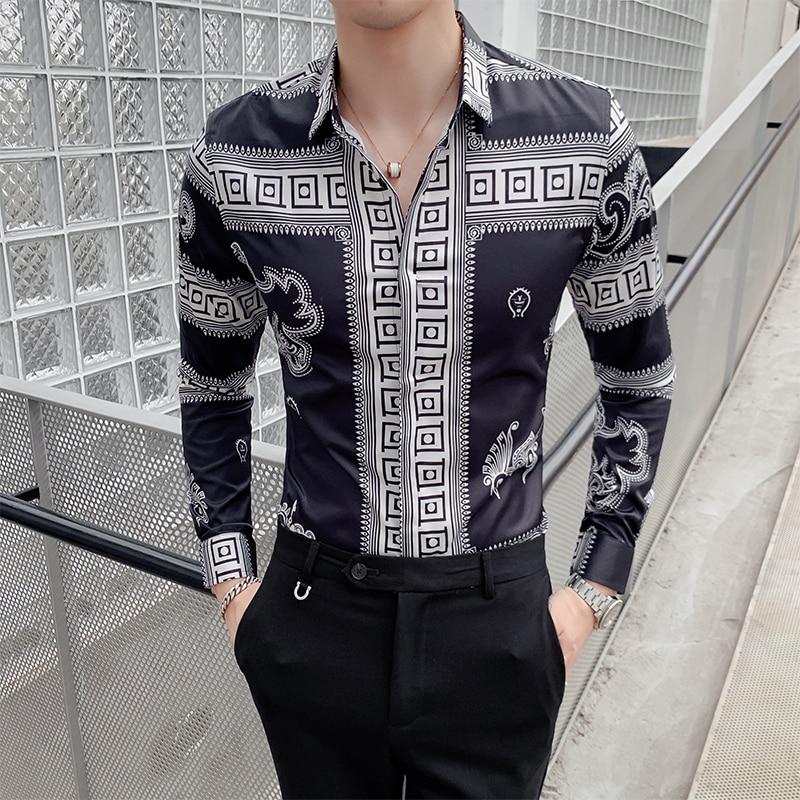 Retro Dragon Print Men Shirt Long Sleeve Shirts Fashion Casual Slim Fit Dress Shirts Night Club Party Social Streetwear Camisa
