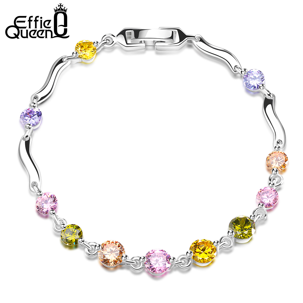 Effie Queen 2017 New Charm Bracelets for Women Paved Colorful Cubic Zircon Bracelet Hand Chain Female