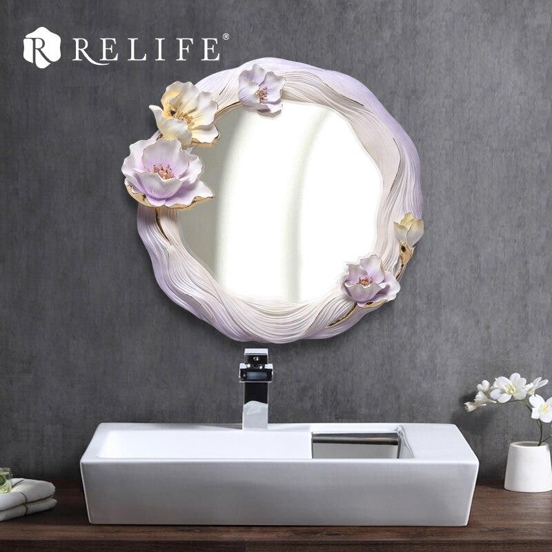 Novo dekorativno okroglo stensko ogledalo smola cvetlični okras za - Dekor za dom - Fotografija 2