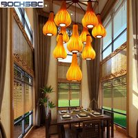 BOCHSBC Woodskin Lampshade Pendent Light Southeast Asia Creative Long Hanging Lamps for Living Room Dinning Room Hallway villa