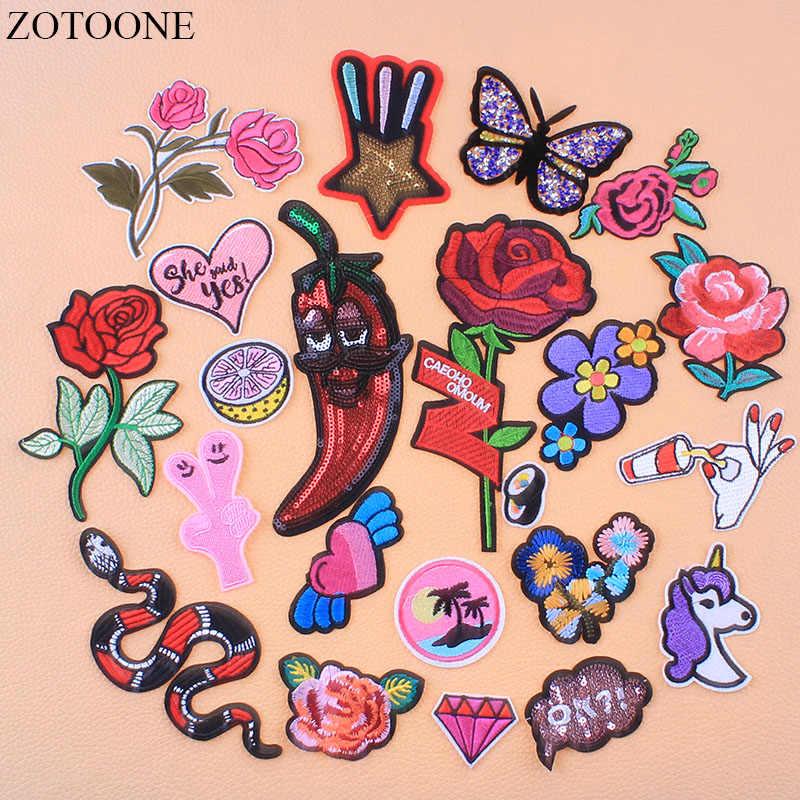 ZOTOONE цветок бабочка горный хрусталь патчи Аппликации для одежды вышитые Единорог суши патч звезда буквы блесток аппликация E