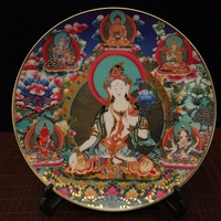 Exquisite Chinese Decorative Colorful Buddha Statues Porcelain Plate No.1