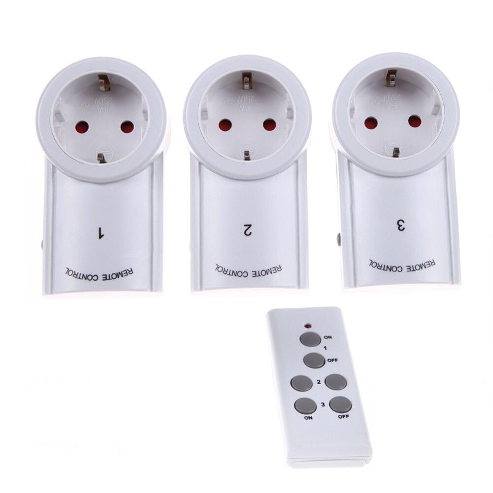 3 unids inalámbrico Smart Control remoto toma de corriente interruptor de luz enchufe 433,93 MHz toma de corriente enchufe estándar de la UE