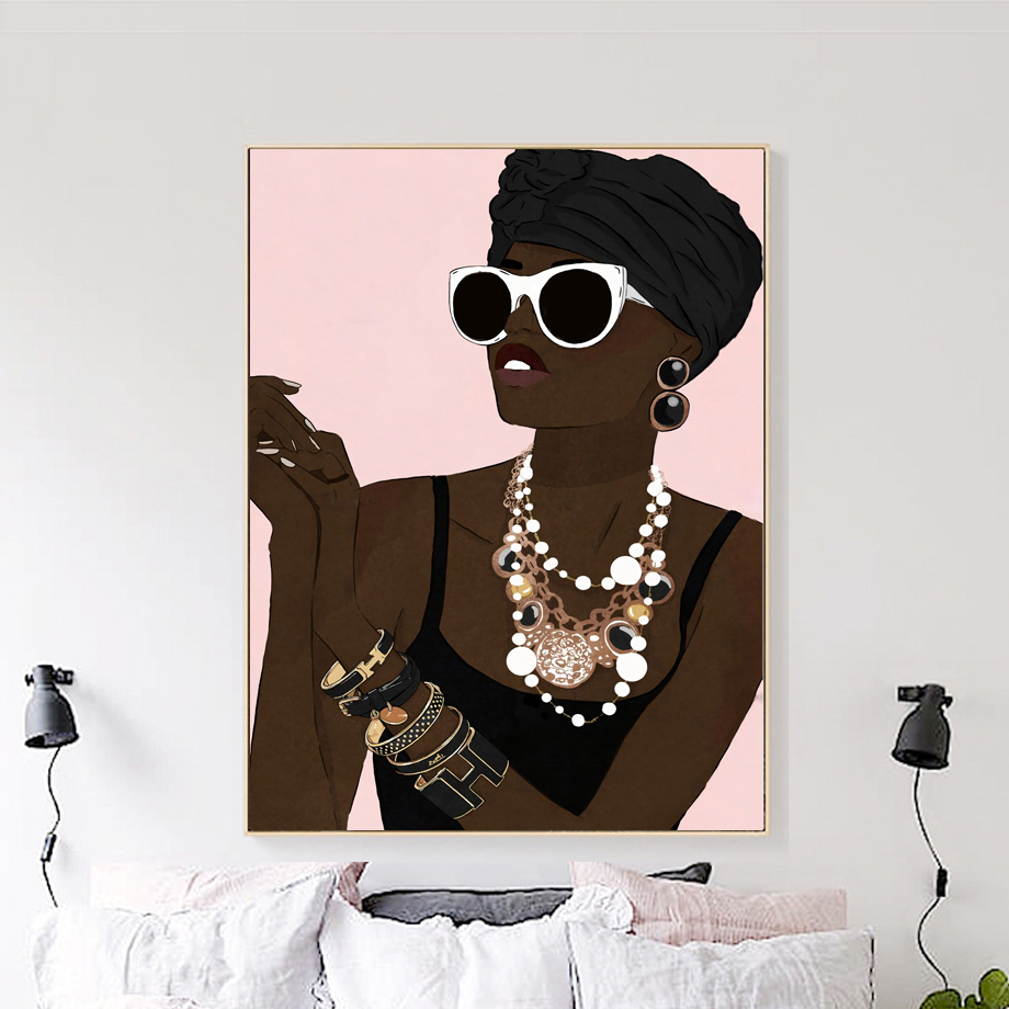 Africa Model Fashion Girl Paris Perfume Wall Art Canvas Painting Nordic Posters And Prints Wall Pictures For Living Room Decor image