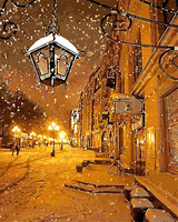 Snow Winter Light Of The Town For Office Living Room Decor Modular Oil Painting Picture By