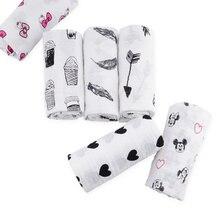 Muslinlife хлопка пеленать Обёрточная бумага, классический белый черный с рисунком муслин ткань Одеяло, мягкие 2 слоя детское одеяло, 110*110 см