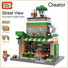 LOZ Diamond Blocks Toys For Children Coffee Shop Street Mini Building Blocks City DIY House Model Creator Mirco Brick Kits 9034
