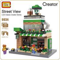 LOZ Nano Block Toys For Children Starbucks Coffee Shop Street Mini Building Blocks City DIY House