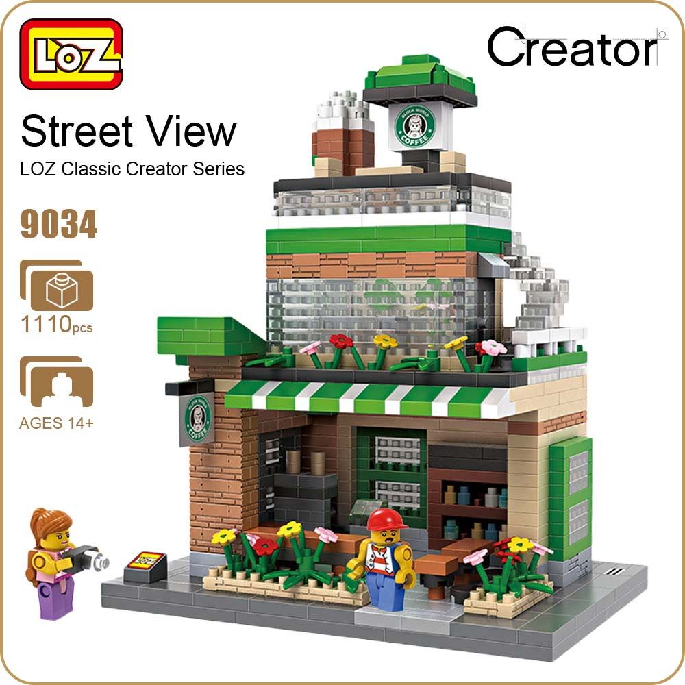LOZ Diamond Blocks Toys For Children Coffee Shop Street Mini Building Blocks City DIY House Model Creator Mirco Brick Kits 9034 loz street view architecture building brick 303pcs