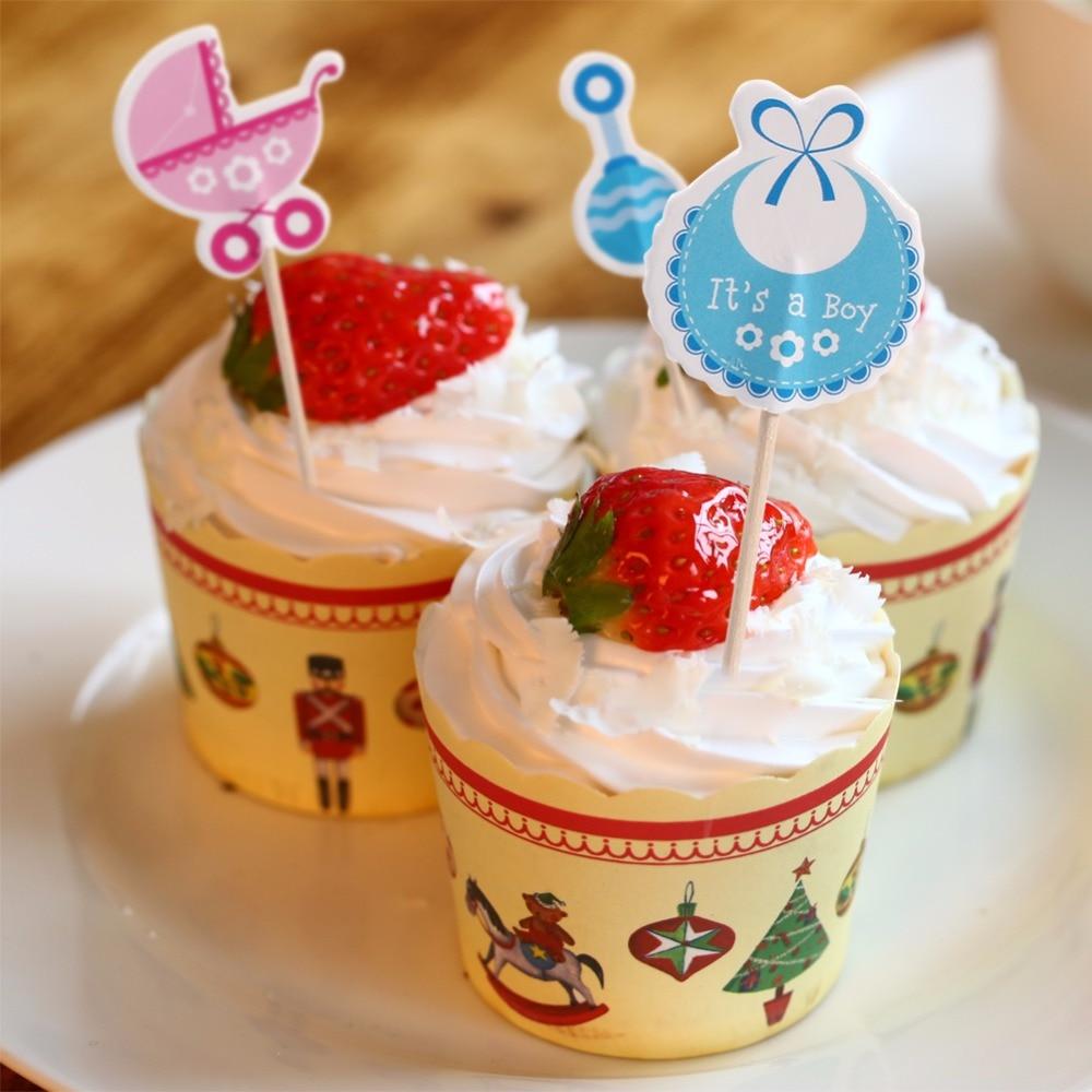 Us 163 48 Off18pcs Lucu Kartun Anak Laki Lakiperempuan Jenis Anak Ulang Tahun Lucu Cupcake Toppers Baby Shower Kue Dekorasi Berwarna Merah Muda
