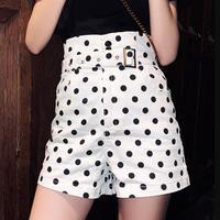 Hot Summer Casual Frill Trim Bow Shorts High Waist Short Fashion Lady Women Loose Wide Leg Printed Dots Shorts Female M24