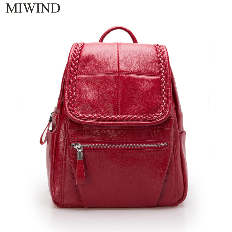 Free Shipping MIWIND Women PU Leather Backpacks Softback Bags Brand Name Bag Casual Fashion Backpacks Girls Backpack WUB068 women backpack fashion pvc faux leather turtle backpack leather bag women traveling antitheft backpack black white free shipping