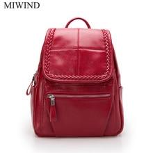 Бесплатная доставка miwind Дамские туфли из PU искусственной кожи рюкзаки softback сумки Производитель сумка Повседневная мода рюкзаки девушки рюкзак WUB068